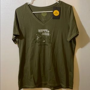 NWT LIFE IS GOOD Olive Green Happy Hour Tee